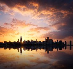 size: Photographic Print: Chicago Skyline at Sunset by beboy : Chicago City, Chicago Skyline, New York Skyline, Street Photography, Landscape Photography, Iphone Photography, Find Art, Insta Pic, Watercolor Paintings