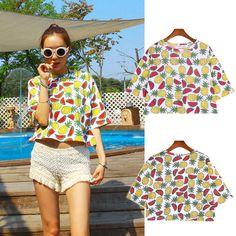 Ladies Women Summer Short Sleeve Loose Casual Fruit Print T-shirt Tops Blouse