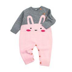 25b5c23b5cf Cartoon Romper Sweater Newborn Baby Girls Boy Bunny Romper Sweater Cotton  Jumpsuit Outfits Clothing 0-