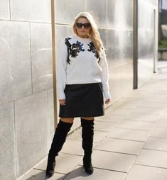 Chic Festive Jumper Inspiration - Style Me Curvy Fashion Night, Party Fashion, Festive Jumpers, Red Long Sleeve Tops, Sequin Top, Plus Size Outfits, Knitwear, Leather Skirt, Style Me