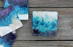 ocean handpainted stone coasters house warming gift dinner party shower favor beach wedding rustic favor hostess gift. $18.00, via Etsy.