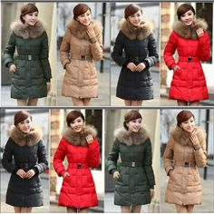 Discount NEW plus size long design slim fur collar outerwear coats with belt in women down parkas on sightface.com