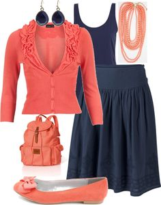 """Coral & Navy Blue"" by kyrie-akers-hubbard on Polyvore"