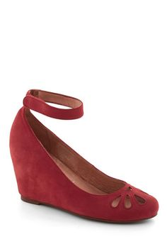 Red suede covered wedge shoes with ankle strap and teardrop cutouts on toe - Jeffrey Campbell Metronome by Heart Wedge, #ModCloth