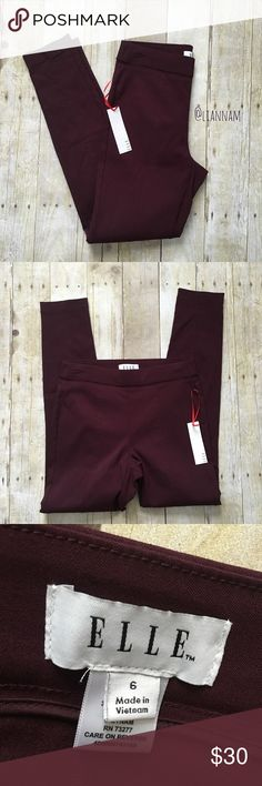 """Elle Pull on Skinny Pants Burgundy color. New with tags. Size 6. Stretchy. 74% rayon, 23% nylon, 3% spandex. Inseam measures 28.5 inches, rise 10 inches and waist lying flat 14 inches.  ❌ No trades or off Poshmark transactions.   👌🏻Quick shipping.   💁🏻Offers welcome through """"Make an Offer"""" feature.   👗👠 Bundle discount.   ❔ Feel free to ask any questions. Elle Pants Skinny"""