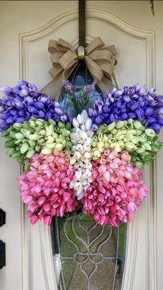 Succulent Care Discover Butterfly wreath all season wreath wreath for front door Butterfly Tulip wreath spring or summer farmhouse decor everyday wreath gift Wreath Crafts, Diy Wreath, Wreath Ideas, Burlap Wreaths, Ornament Wreath, Grapevine Wreath, Diy Fleur, Tulip Wreath, Tulip Bouquet