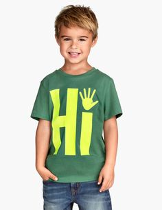 Check this out! T-shirt in cotton jersey with a printed design at front. ONLINE EXCLUSIVE. - Visit hm.com to see more.