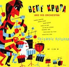 Jim Flora. Gene Krupa and his orchestra. 1947. Columbia Records