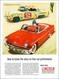 "1954 Lincoln Ad ""How to know the story on fine car performance"""
