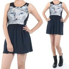ebclo - Kitty Cat Face Print Black Mini Skater Dress $18.00 Free Domestic Shipping