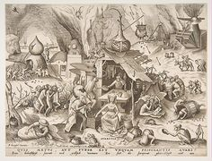Avarice (Avaritia) from the series The Seven Deadly Sins, Pieter van der Heyden (Netherlandish, ca. 1525–1569), Engraving; first state of two