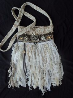 Handmade Vintage Lace Fringe Bag Hippie Boho Shabby Chic Cross Body Purse tmyers #Handmade #MessengerCrossBody