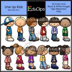 Line Up Kids Clip Art Bundle from Educlips on TeachersNotebook.com -  (24 pages)  - Line Up Kids Clip Art Bundle - I sure wish my kids lined up like this!! Now, you can show them how it's done with this set of kids.