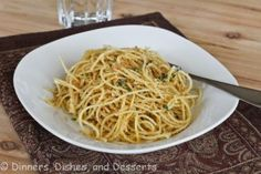 Pasta with garlic breadcrumbs  *While spaghetti cooks, add artichokes (9 oz frozen package) to boiling water and blanch 1 to 2 minutes. Remove from pot and rinse under cold water. Transfer to paper towels to dry