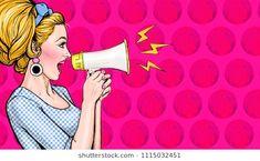 Pop art girl with megaphone. Advertising poster with lady announcing discount or sale. Moda Pop Art, Pop Art Fashion, Pop Art Wallpaper, Pop Art Girl, Art Background, Art Sketchbook, Artist Art, Female Art, Cute Art