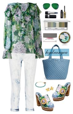 """""""Hydrangea"""" by musicfriend1 ❤ liked on Polyvore featuring Current/Elliott, Dolce&Gabbana, M Z Wallace, Alex and Ani, John Iversen, Burberry, Clinique, Christian Dior, tarte and Victoria Beckham"""