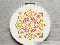 modern cross stitch pattern geometric bohemian by Happinesst