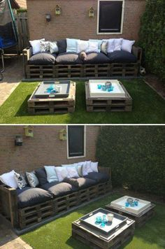Pallets Old Give old pallets a new life by turning them into patio furniture! - Turn pallets into a beautiful furniture set for your patio / outdoor living area. Pallet Patio Furniture, Garden Furniture, Outdoor Furniture Sets, Outdoor Decor, Pallet Couch, Outdoor Pallet, Pallet Seating, Outdoor Seating, Backyard Seating