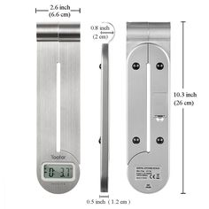 Kitchen Food Scale  -  Space saver. Foldable and lightweight. Complete with hook to hang. Small size: 10.5 x 0.8 x 2.8 inches.