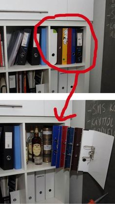 Ummm I don't need to hide alcohol, but this could be a cool idea to block open/narrow shelving that has utilitarian items on it that I don't really want to see all the time...
