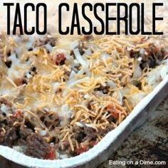 Looking for a freezer friendly recipe? You are going to love this easy taco casserole recipe! It is a simple casserole recipe that is packed with flavor. casserole recipe Easy Taco Casserole Recipe -freezer friendly casserole - Eating on a Dime Make Ahead Freezer Meals, Freezer Cooking, Freezer Dinner, Batch Cooking, Easy Taco Casserole, Casserole Dishes, Beef Recipes, Cooking Recipes, Gourmet