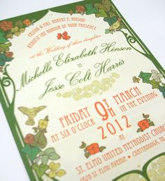 Very Pretty Wedding Invitation Nouveau Art Deco Garden Party Style By OneLittleM On