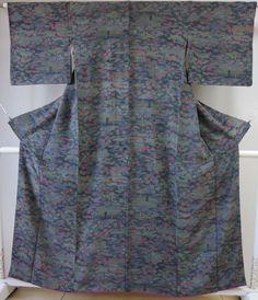 Kimono Dress Japan Japanese Awase Geisha costume Vintage Komon  S/F KDJM-A0013