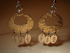 Hammered bronze disc earrings with dangling paddles - Nici's Custom Guitar Picks and Jewelry