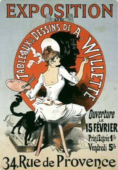 Exposition: Tableaux et Dessins de A. Willette   Jules Chéret   1888