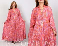 Sultana ADINI vintage 70s metallic gauze INDIA CAFTAN maxi dress floral roses kimono bell sleeve hippie boho bohemian cotton gypsy indian