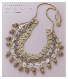 "Photo from album ""Asahi Original Crochet Girly Accessories on Yandex. Crochet Books, Love Crochet, Crochet Motif, Crochet Crafts, Crochet Flowers, Crochet Patterns, Crochet Stitches, Textile Jewelry, Fabric Jewelry"
