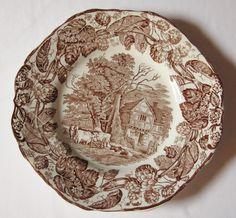 Brown transferware plate