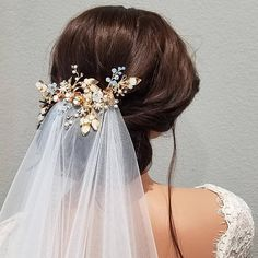LILY Gold Bridal Hairpiece with Flowers and Pearls Free