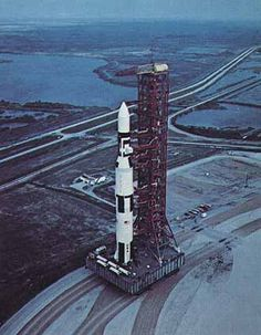Saturn V rocket with Skylab on the Mobile Launch Platform/crawler transporter being taken to the launch pad.