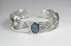 Handmade 925 Sterling Silver Three Strand Woven Cuff Bracelet with Bezel Set Opal, Australian Opal by WovenArtJewellery on Etsy