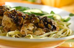 Chicken Mirabella - A Dream Dinners' signature dish.  Bake these all-natural chicken breasts with the savory tang of capers that are mellowed with the natural sweetness of dried plums.  Your finished dish is perfect for entertaining or a nice way to treat yourself at the end of a busy day.