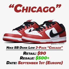 "Gefällt 4,454 Mal, 26 Kommentare - News, Leaks and Predictions (@resell.heaven) auf Instagram: ""The Nike SB Dunk Low J-Pack ""Chicago"" have loaded up on various sites including the SNKRS app in…"" Shoe Releases, Dunk Low, Nike Sb Dunks, Chicago, Heaven, App, News, Sneakers, Shoes"