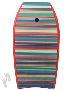 """37"""" red stripes bodyboard from twobarefeet featuring a colourful striped design. Grab one today"""
