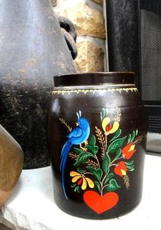 ♥antique Stoneware Crock Beautiful Folk Art Bird Pennsylvania Dutch Hand Painted | eBay