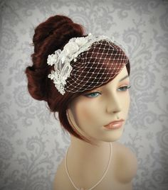 dyi it   Birdcage Veil - Detachable, Headband Veil with french netting lace and silk rosettes - ivory, white, silver, champagne. $125.00, via Etsy.