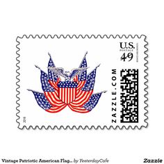 Vintage Patriotic American Flag, Fourth of July Stamps. Vintage illustration proud patriotic Fourth of July holiday design featuring an eagle holding a shield surrounded by six American Flags, the stars and stripes. Show your patriotism and pride for the United States of America with a symbol of freedom and our great nation. Perfect for celebrating our heroes on Veteran's Day, Memorial Day or Independence Day the 4th of July.