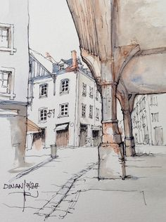 City Painting, Painting & Drawing, Building Illustration, Illustration Art, Fountain Pen Drawing, Pen And Wash, Architecture Drawings, Urban Sketching, Pen Art