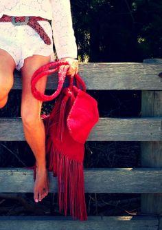 The Boho Bazaar: Red fringe crossbody bag