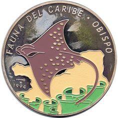 Moneda 5 onzas de plata 50p. Cuba Fauna del caribe Pez obispo 94