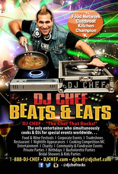 dj chef Food Network Cutthroat Kitchen Champion is The only entertainer who simultaneously cooks & DJs for special events,  tradeshows, food & wine festivals, corporate events,  private parties,  birthday party,  bridal showers & bachelorette parties,  promotions and customers appreciation events. hamptons montauk nassau suffolk county long island nyc Connecticut new jersey, Florida south beach miami north carolina maryland Virginia dc dubai mexico cancun Bahamas Hawaii texas london Italy…