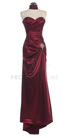 Burgundy Strapless Sweetheart Pleated Bodice Full Length Bridesmaid Dress S8530-BG $77.00 on www.PromDressLine.Com