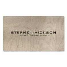 MODERN & ARCHITECTURAL CARVED TEXT on GRAY WOOD Business Card