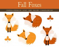 Little Fall Fox Clip Art - Personal and Commercial Use Clipart - Instant Download Digital Graphic