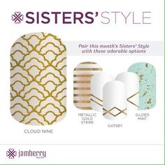 The timeless gold-on-white design in 'Cloud Nine' is perfectly suited for any holiday affair. Mix it with any of these designs for a cute and stylish mani. Gorgeous Nails, Pretty Nails, Gatsby, Mint Gold, Metallic Gold, Jamberry Nail Wraps, Jamberry Style, Gold Gilding, Gold Stripes