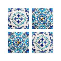 Mediterranean Tile Coasters - Set of 4